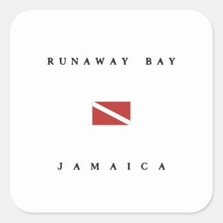 Runaway Bay Jamaica Scuba Dive Flag Square Sticker