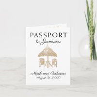 Runaway Bay Jamaica Tan Passport Wedding Invitation