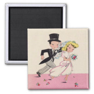 Runaway Bride & Groom 2 Inch Square Magnet
