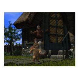 Runaway Gingerbread Man Postcard
