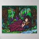 """Runaway Princess"" Fairy Dragon Fantasy Forest Art Print"