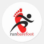 runbarefoot etiqueta redonda