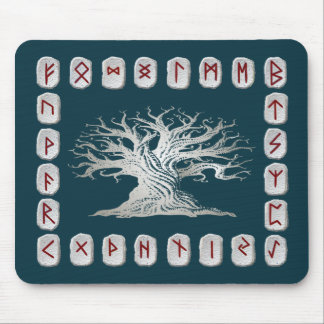 Rune Layout with World Tree Mouse Pad