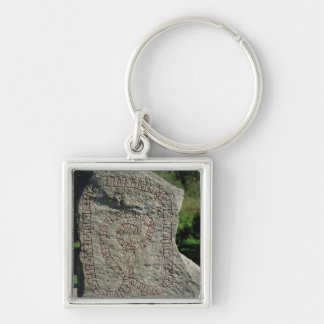 Rune stone outside Gripsholm Castle Silver-Colored Square Keychain