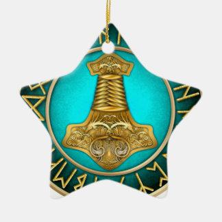 Runes - Thors Hammer - Teal Ceramic Ornament