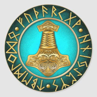 Runes - Thors Hammer - Teal Classic Round Sticker