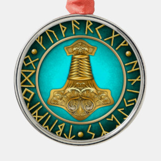 Runes - Thors Hammer - Teal Metal Ornament