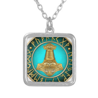 Runes - Thors Hammer - Teal Silver Plated Necklace