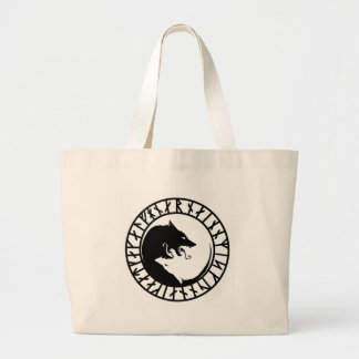Runic Dire Wolf viking norse nordic runes Large Tote Bag