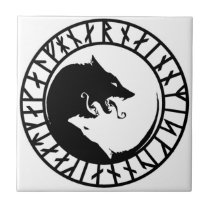 Runic Dire Wolf viking norse nordic runes Tile