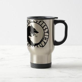 Runic Dire Wolf viking norse nordic runes Travel Mug