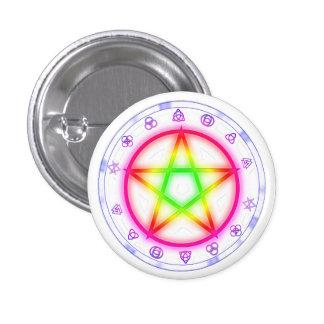 Runic Rainbow Pentacle Pagan Pride design Pinback Button