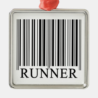 Runner Barcode Metal Ornament