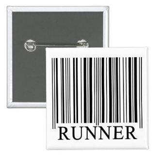 Runner Barcode Pinback Button