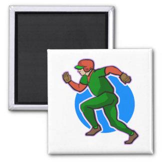 Runner Baseball 2 Inch Square Magnet