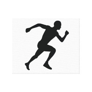 Runner Black Silhouette Shadow Stretched Canvas Prints