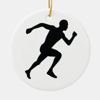 Runner Black Silhouette Shadow Ceramic Ornament