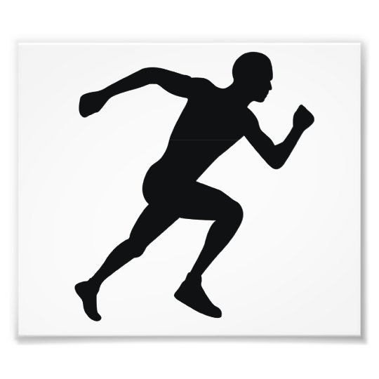Runner Black Silhouette Shadow Photo Print