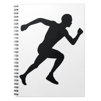 Runner Black Silhouette Shadow Spiral Note Books