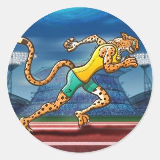 Runner Cheetah Classic Round Sticker