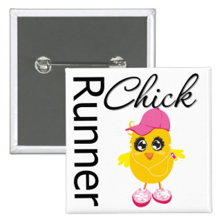Runner Chick 2 Inch Square Button