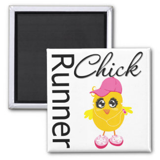 Runner Chick 2 Inch Square Magnet