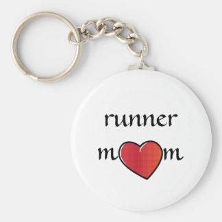 Runner Mom Red Heart Design Keychain
