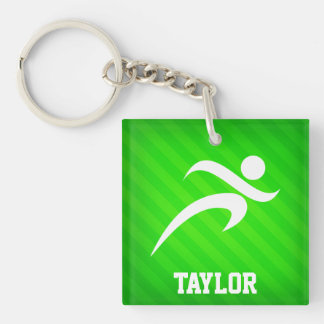 Runner; Neon Green Stripes Double-Sided Square Acrylic Keychain