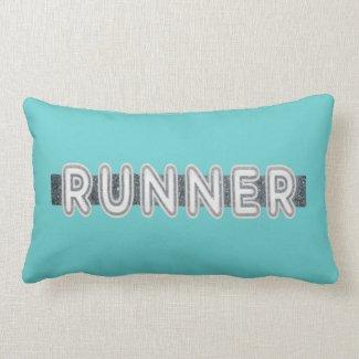 """""""Runner"""" on blue Throw Pillows"""