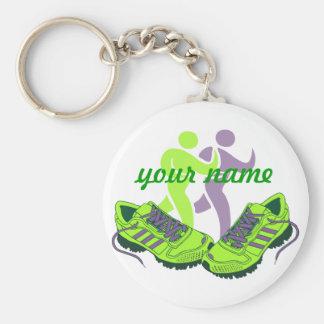 Runner Personalized Basic Round Button Keychain