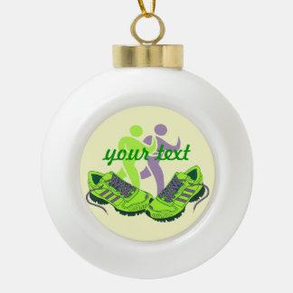 Runner Personalized Ceramic Ball Christmas Ornament