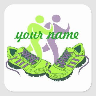 Runner Personalized Square Sticker
