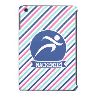 Runner, Running; Blue, Pink, & White Stripes iPad Mini Retina Case