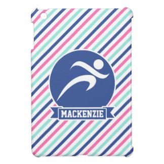 Runner, Running; Blue, Pink, & White Stripes iPad Mini Cover