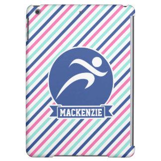 Runner, Running; Blue, Pink, & White Stripes Case For iPad Air