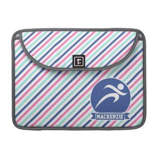 Runner, Running; Blue, Pink, & White Stripes MacBook Pro Sleeves