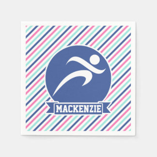 Runner, Running; Blue, Pink, & White Stripes Paper Napkin