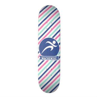 Runner, Running; Blue, Pink, & White Stripes Skateboard