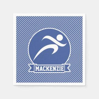 Runner, Running, Blue & White Stripes, Sports Paper Napkins