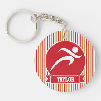Runner, Running; Red, Green, Orange Stripes Double-Sided Round Acrylic Keychain