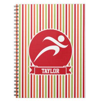 Runner, Running; Red, Green, Orange Stripes Spiral Note Book