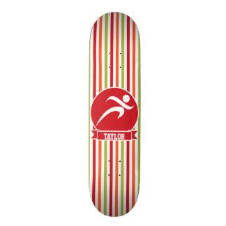 Runner, Running; Red, Green, Orange Stripes Custom Skateboard