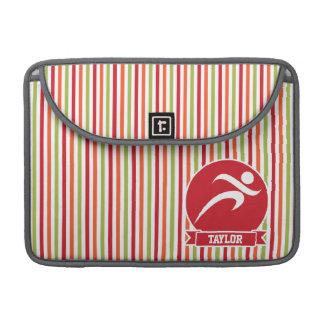 Runner, Running; Red, Green, Orange Stripes Sleeve For MacBooks