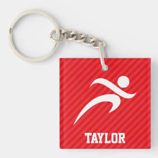 Runner; Scarlet Red Stripes Double-Sided Square Acrylic Keychain