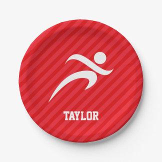 Runner; Scarlet Red Stripes Paper Plate
