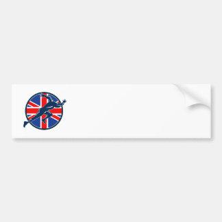 Runner Sprinter Start British Flag Circle Bumper Stickers