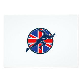 "Runner Sprinter Start British Flag Circle 3.5"" X 5"" Invitation Card"