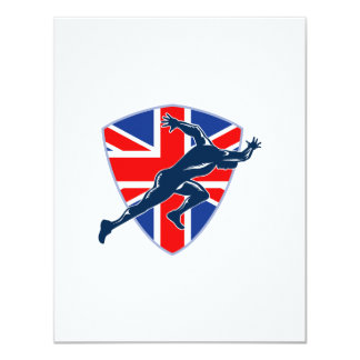 Runner Sprinter Start British Flag Shield 4.25x5.5 Paper Invitation Card