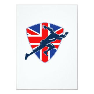Runner Sprinter Start British Flag Shield 4.5x6.25 Paper Invitation Card