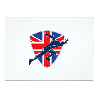 Runner Sprinter Start British Flag Shield 5x7 Paper Invitation Card